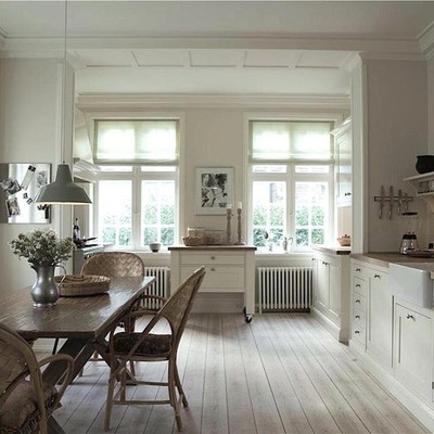 Tomorrow, get ready for another blast of @benjaminmoore matched to the new 9 Farrow & Ball paint colors 2016 - of course nothing replaces the depth and beauty of @farrowandball - gorgeous #whiteonwhite #countrykitchen by F&B